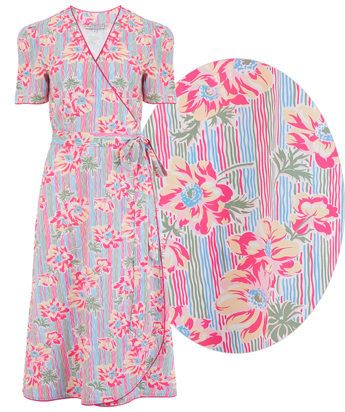 "Rock n Romance ""Cora"" Full Wrap Dress in Pacific Garden Print, Perfect 1950s Style - RocknRomance Clothing"