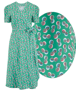 "Rock n Romance **Sample Sale** ""Cora"" Full Wrap Dress in Green Abstract Polka Print, Perfect 1950s Style, Ex-Photoshoot Item - RocknRomance Clothing"