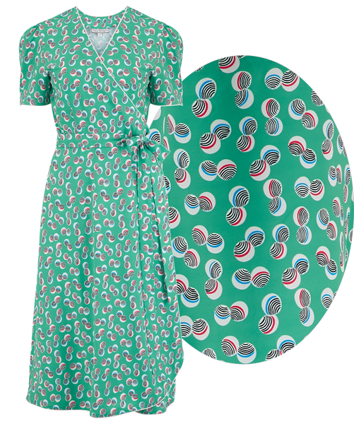 "**Sample Sale** ""Cora"" Full Wrap Dress in Green Abstract Polka Print, Perfect 1950s Style, Ex-Photoshoot Item - RocknRomance True 1940s & 1950s Vintage Style"