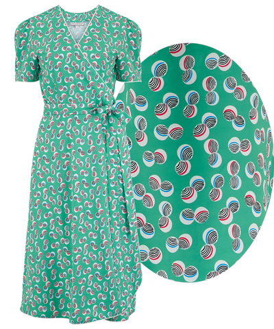 "Rock n Romance ""Cora"" Full Wrap Dress in Green Abstract Polka Print, Perfect 1950s Style - RocknRomance Clothing"