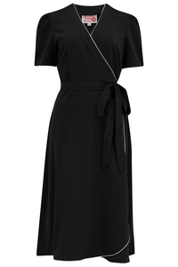 "Rock n Romance The ""Cora"" Full Wrap Dress in Black with Ivory Contrast Piping, Perfect 1950s Style - RocknRomance Clothing"