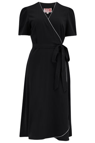 "The ""Cora"" Full Wrap Dress in Black with Ivory Contrast Piping, Perfect 1950s Style - RocknRomance True 1940s & 1950s Vintage Style"