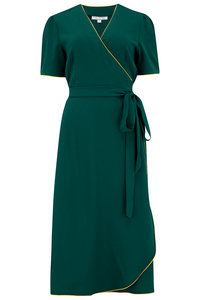 "Rock n Romance The ""Cora"" Full Wrap Dress in Green with Mustard Contrast Piping, Perfect 1950s Style - RocknRomance Clothing"