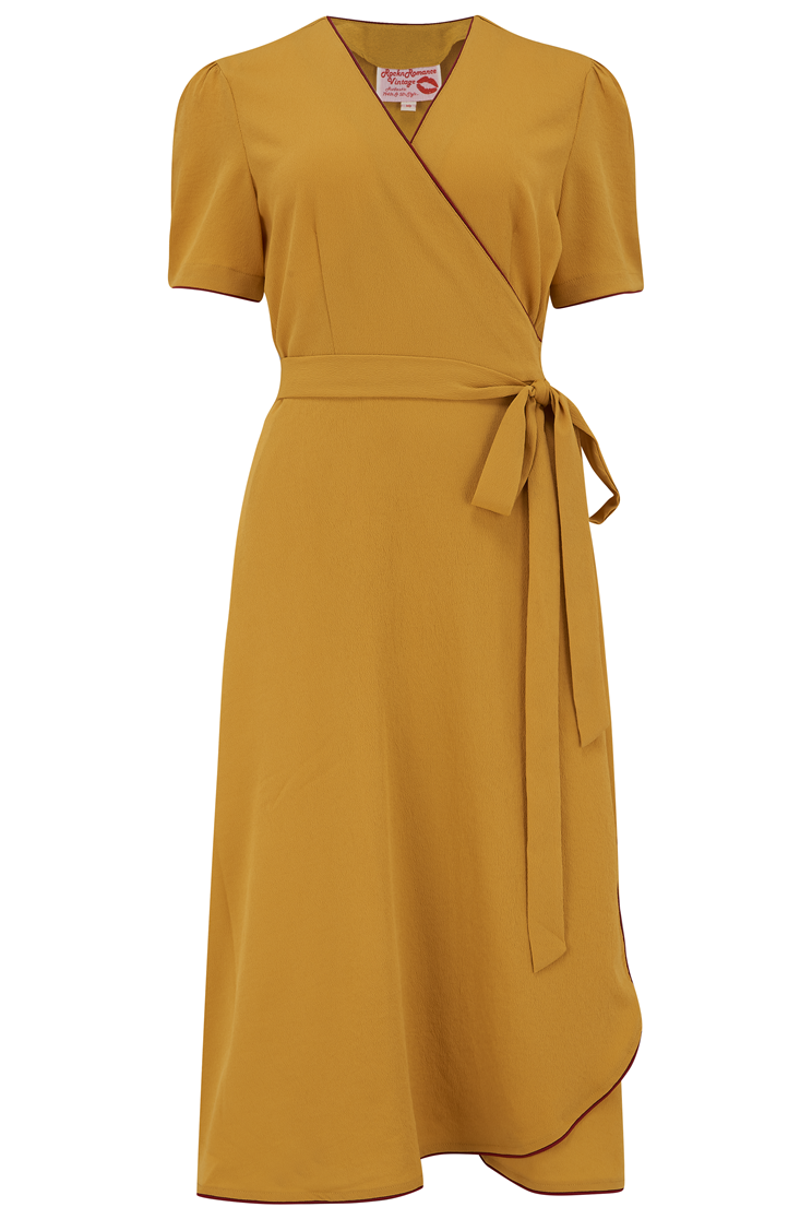 1950s Housewife Dress | 50s Day Dresses The Cora Full Wrap Dress in Mustard with Wine Contrast Piping Perfect 1950s Style £49.00 AT vintagedancer.com
