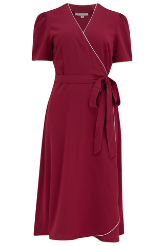 "The ""Cora"" Full Wrap Dress in Wine with Ivory Contrast, Perfect 1950s Style - RocknRomance True 1940s & 1950s Vintage Style"