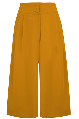 "Rock n Romance **Pre-Order** The ""Sophia"" Plazo Culottes in Solid Mustard, Classic & Easy To Wear Vintage Inspired Style - RocknRomance Clothing"