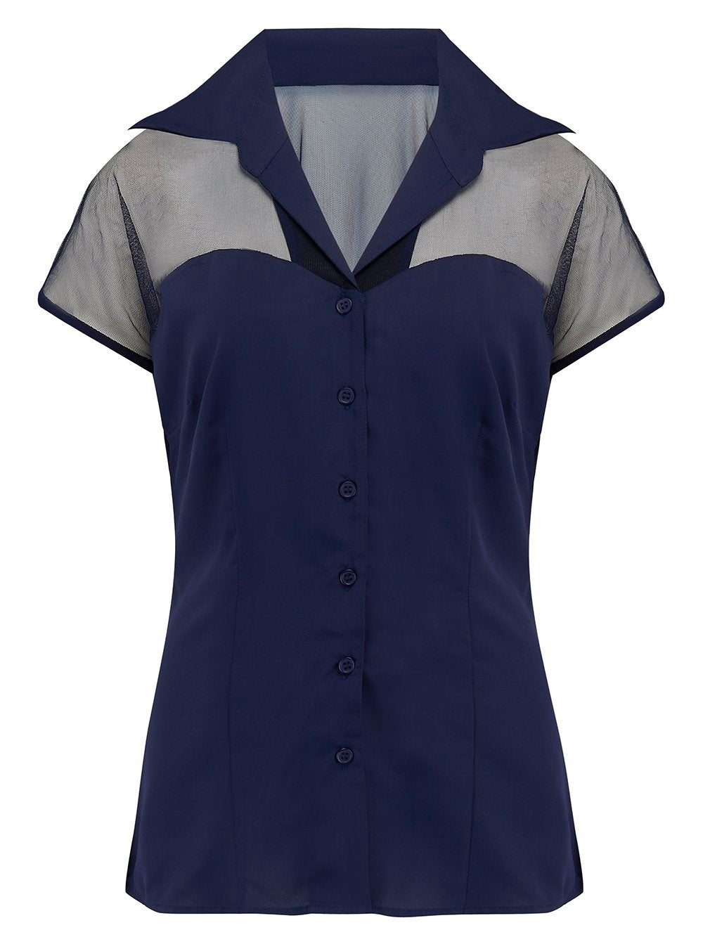 """Dalilah"" Blouse in Solid Navy Blue with Net Upper, Classic Vintage 1950s Inspired Style"