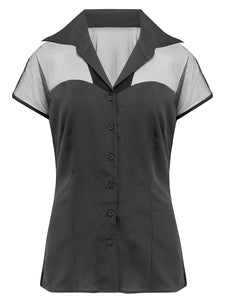 """Dalilah"" Blouse in Black with Net Upper, Classic Vintage 1950s Inspired Style"