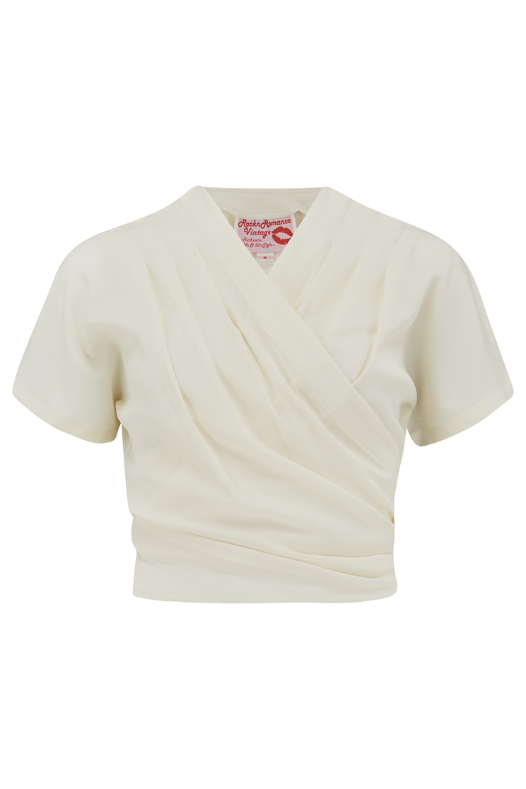 1940s Blouses and Tops The Darla Short Sleeve Wrap Blouse in Antique White True Vintage Style £29.00 AT vintagedancer.com