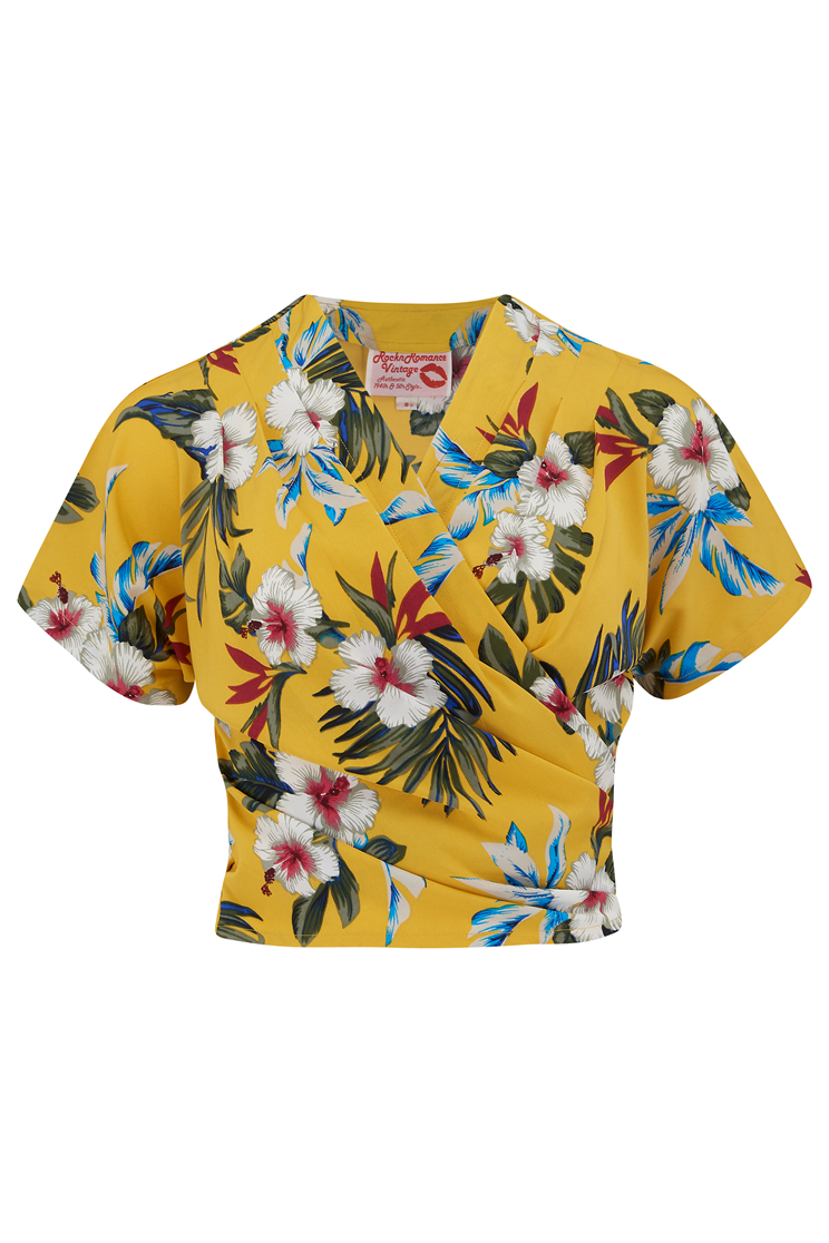 1940s Blouses and Tops The Darla Short Sleeve Wrap Blouse Mustard Hawaiian Print True Vintage Style £29.00 AT vintagedancer.com
