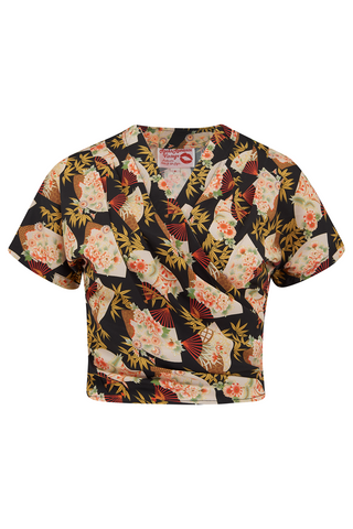 "Rock n Romance The ""Darla"" Short Sleeve Wrap Blouse in Oriental Fan Print, True Vintage Style - RocknRomance Clothing"