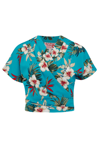 "Rock n Romance The ""Darla"" Short Sleeve Wrap Blouse in Teal Hawaiian Print, True Vintage Style - RocknRomance Clothing"