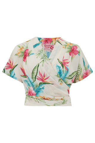 "Pre-Order Item.. The ""Darla"" Short Sleeve Wrap Blouse in Natural Honolulu Print, True Vintage Style - RocknRomance True 1940s & 1950s Vintage Style"