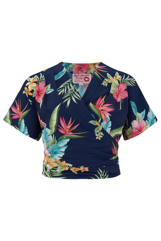 "Pre-Order Item.. The ""Darla"" Short Sleeve Wrap Blouse in Navy Honolulu Print, True Vintage Style - RocknRomance True 1940s & 1950s Vintage Style"
