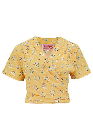 "Pre-Order Item.. The ""Darla"" Short Sleeve Wrap Blouse in Yellow Heart Print, True Vintage Style - RocknRomance True 1940s & 1950s Vintage Style"