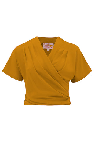 "Pre-Order Item.. The ""Darla"" Short Sleeve Wrap Blouse in Mustard, True Vintage Style - RocknRomance True 1940s & 1950s Vintage Style"