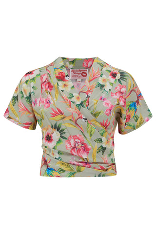 "Pre-Order Item.. The ""Darla"" Short Sleeve Wrap Blouse in Paradise Print, True Vintage Style - RocknRomance True 1940s & 1950s Vintage Style"