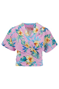 "The ""Darla"" Short Sleeve Wrap Blouse in Pink Hawaiian Print, True Vintage Style - RocknRomance True 1940s & 1950s Vintage Style"