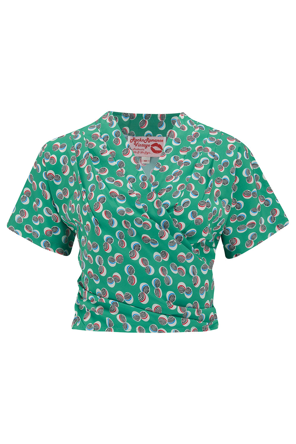"Pre-Order Item.. The ""Darla"" Short Sleeve Wrap Blouse in Green Polka Print, True Vintage Style - RocknRomance True 1940s & 1950s Vintage Style"