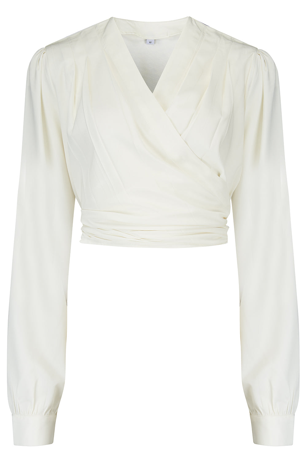 1930s Style Blouses, Shirts, Tops | Vintage Blouses Pre-Order The Darla Long Sleeve Wrap Blouse in Antique White True Vintage Style £29.00 AT vintagedancer.com