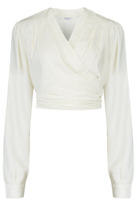 "Rock n Romance The ""Darla"" Long Sleeve Wrap Blouse in Antique White, True Vintage Style - RocknRomance Clothing"