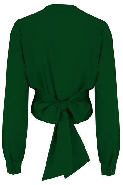 "Rock n Romance The ""Darla"" Long Sleeve Wrap Blouse in Green, True Vintage Style - RocknRomance Clothing"