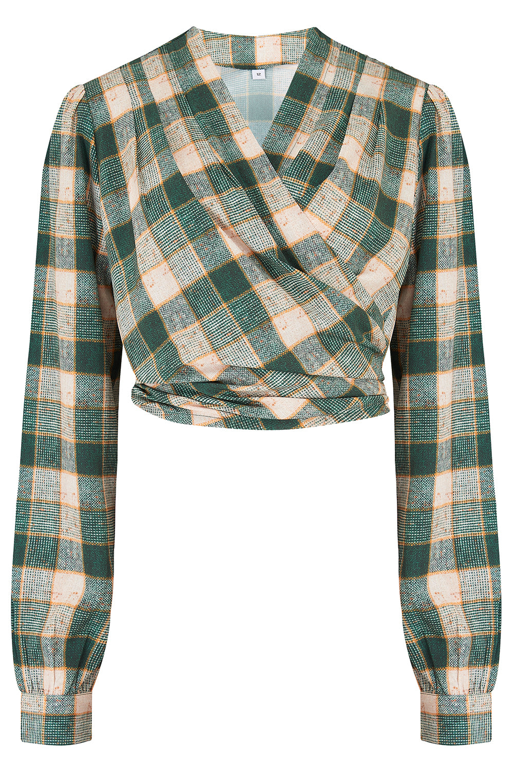 "Rock n Romance **Pre-Order** The ""Darla"" Long Sleeve Wrap Blouse in Green Check Print, True Vintage Style - RocknRomance Clothing"