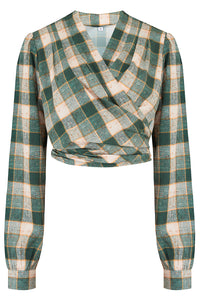 "The ""Darla"" Long Sleeve Wrap Blouse in Green Check Print, True Vintage Style - RocknRomance True 1940s & 1950s Vintage Style"
