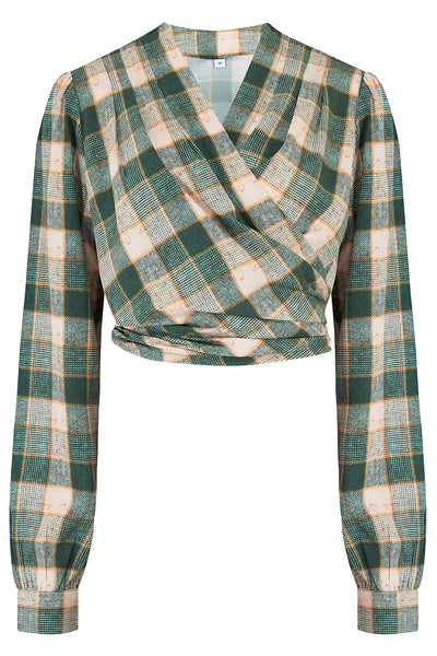 "Rock n Romance The ""Darla"" Long Sleeve Wrap Blouse in Green Check Print, True Vintage Style - RocknRomance Clothing"