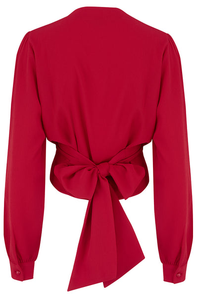 "Rock n Romance The ""Darla"" Long Sleeve Wrap Blouse in Red, True Vintage Style - RocknRomance Clothing"