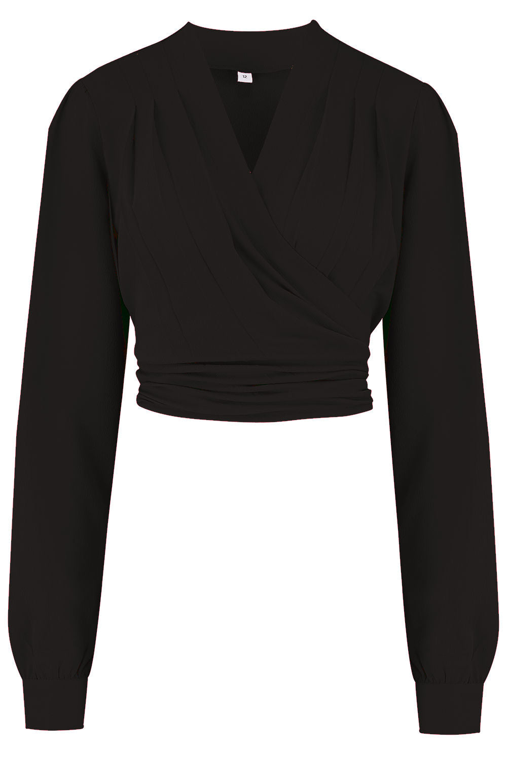 50s Shirts & Tops Pre-Order The Darla Long Sleeve Wrap Blouse in Black True Vintage Style £29.00 AT vintagedancer.com