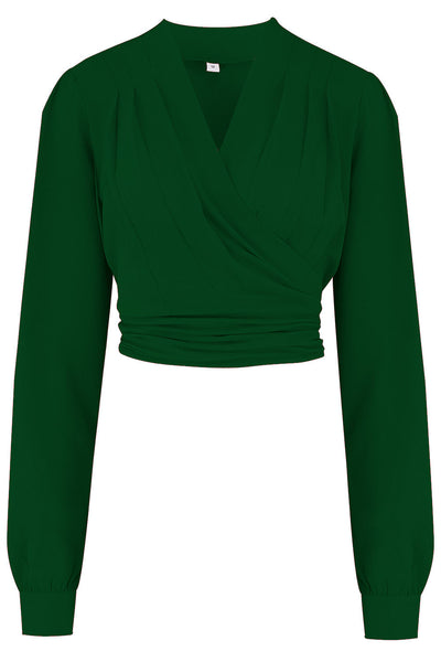 "Rock n Romance **Pre-Order** The ""Darla"" Long Sleeve Wrap Blouse in Green, True Vintage Style - RocknRomance Clothing"
