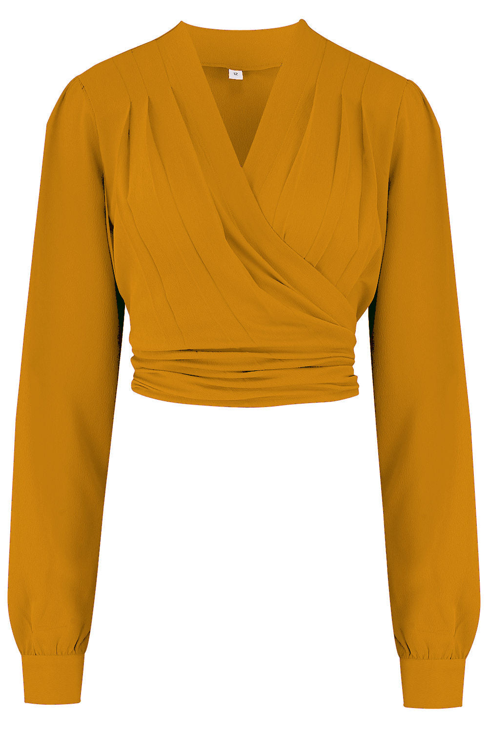 "Rock n Romance The ""Darla"" Long Sleeve Wrap Blouse in Mustard, True Vintage Style - RocknRomance Clothing"