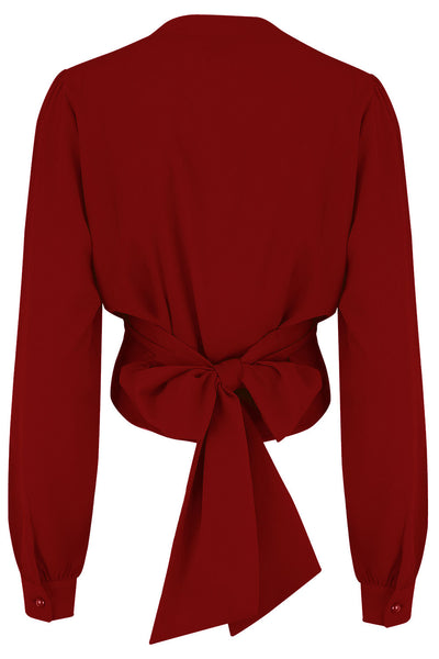 "Rock n Romance The ""Darla"" Long Sleeve Wrap Blouse in Wine, True Vintage Style - RocknRomance Clothing"