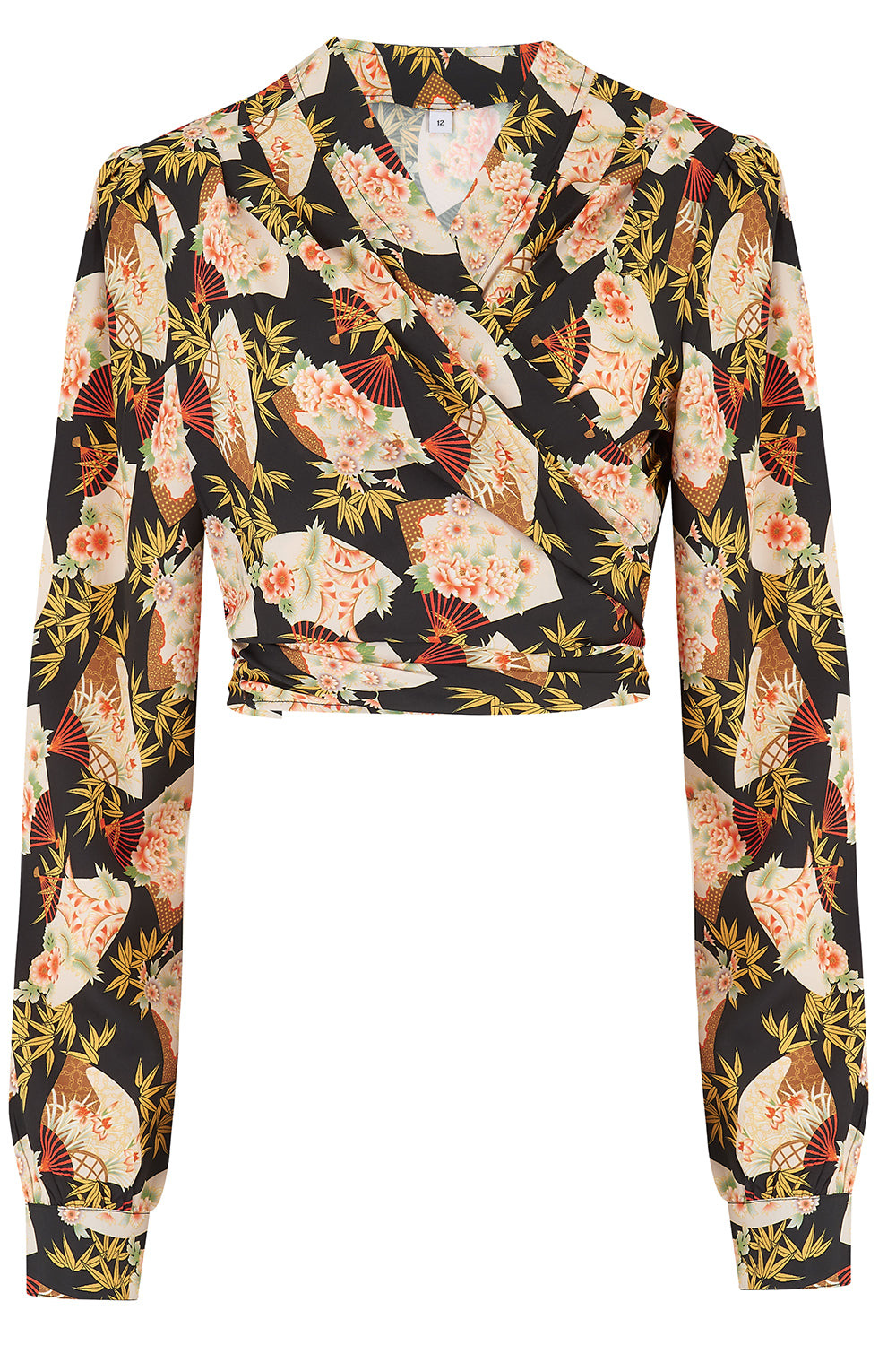 "Rock n Romance **Pre-Order** The ""Darla"" Long Sleeve Wrap Blouse in Oriental Fan Print, True Vintage Style - RocknRomance Clothing"