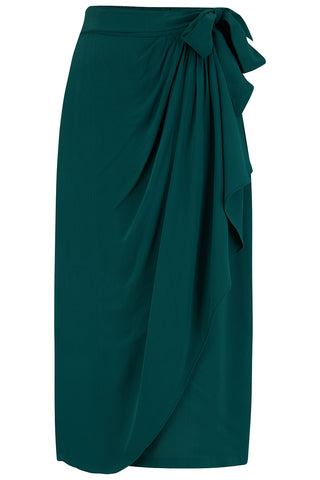 Deanna Sarong Skirt In Solid Green, Classic & Authentic 1940s True Vintage Inspired Style - RocknRomance True 1940s & 1950s Vintage Style