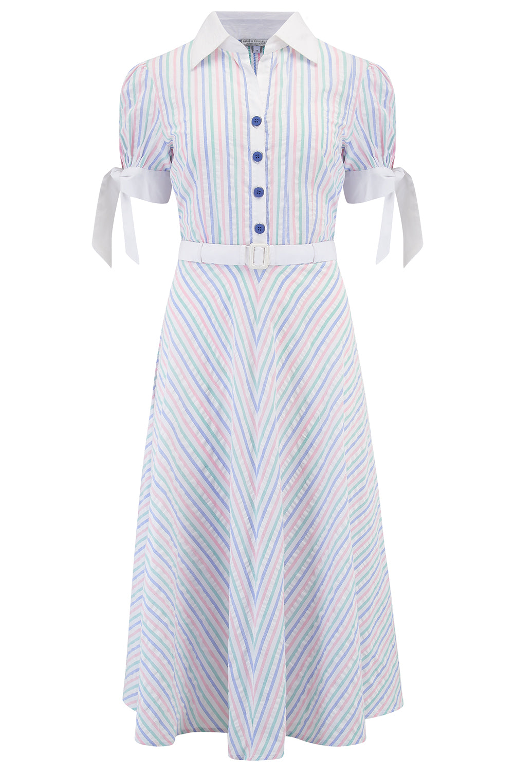 "Rock n Romance **Sample Sale** ""Debbie"" Tea Dress in Pastel Stripe Cotton Seersucker, Classic 1950s Vintage Style - RocknRomance Clothing"