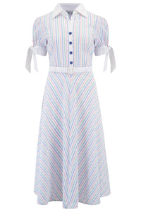 "**Limited Edition** ""Debbie"" Tea Dress in Pastel Stripe Cotton Seersucker, Classic 1950s Vintage Style SS19"
