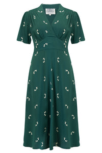 """Dolores"" Swing Dress in Green Doggy, Classic 1940s Inspired Vintage Style"