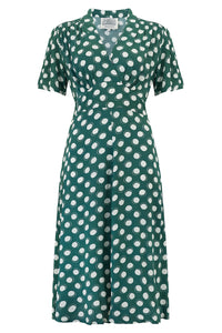 """Dolores"" Swing Dress in Green Moonshine, Classic 1940s Inspired Vintage Style"