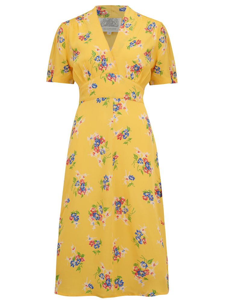 "Seamstress Of Bloomsbury ""Dolores"" Swing Dress in Yesllow Mimosa Print, A Classic 1940s Inspired Vintage Style"