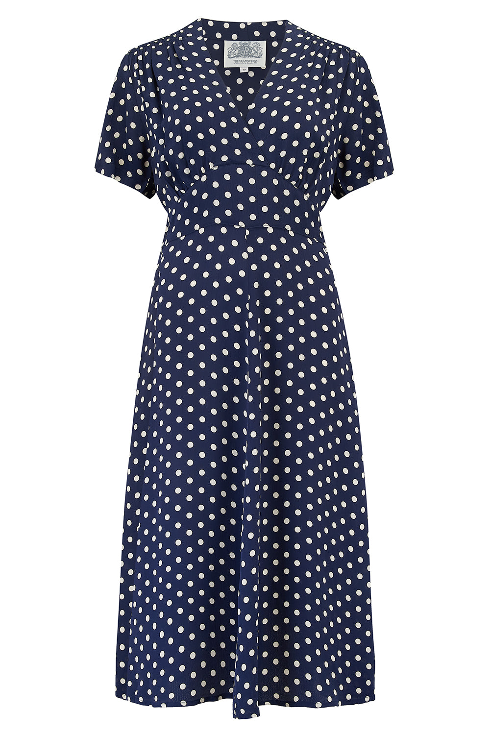 "The Seamstress Of Bloomsbury ""Dolores"" Swing Dress in Navy Spot, Classic 1940s Inspired Vintage Style - RocknRomance Clothing"