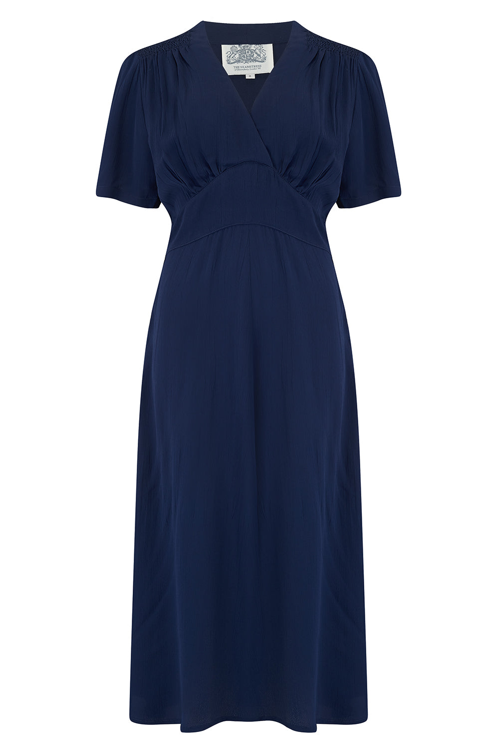 1940s Dress Styles Dolores Swing Dress in Solid Navy Classic 1940s Inspired Vintage Style £79.00 AT vintagedancer.com