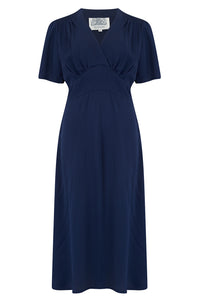 """Dolores"" Swing Dress in Solid Navy, Classic 1940s Inspired Vintage Style"