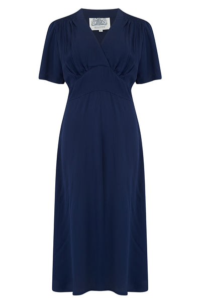 "The Seamstress Of Bloomsbury ""Dolores"" Swing Dress in Solid Navy, Classic 1940s Inspired Vintage Style - RocknRomance Clothing"