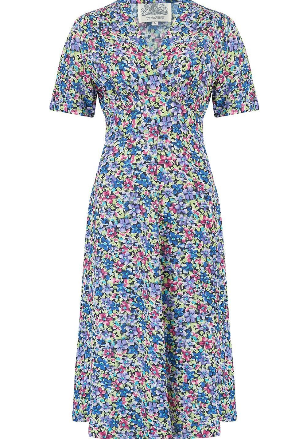 "The Seamstress Of Bloomsbury ""Dolores"" Swing Dress in Pansy Print, A Classic 1940s Inspired Vintage Style - RocknRomance Clothing"