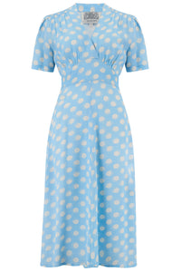 "The Seamstress Of Bloomsbury ""Dolores"" Swing Dress in Sky Blue Moonshine Spot, Classic 1940s Inspired Vintage Style - RocknRomance Clothing"