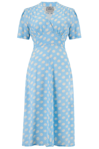 """Dolores"" Swing Dress Powder blue moonshine print, A Classic 1940s Inspired Vintage Style the seamstress of bloomsbury"