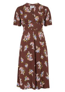 "The Seamstress Of Bloomsbury ""Dolores"" Swing Dress in Brown Floral Dancer, A Classic 1940s Inspired Vintage Style - RocknRomance Clothing"