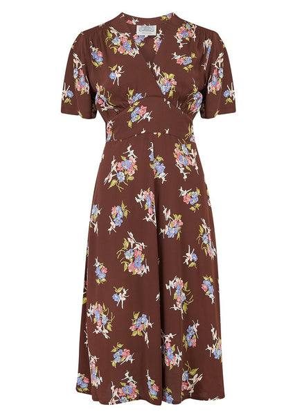 "The Seamstress Of Bloomsbury Size Guide Fit Spec Sheet ""Dolores"" Swing Dress in Brown Floral Dancer, A Classic 1940s Inspired Vintage Style"